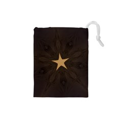 Rustic Elegant Brown Christmas Star Design Drawstring Pouches (small)  by yoursparklingshop