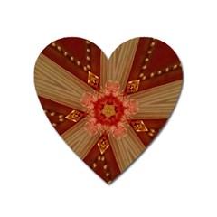 Red Star Ribbon Elegant Kaleidoscopic Design Heart Magnet by yoursparklingshop