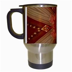 Red Star Ribbon Elegant Kaleidoscopic Design Travel Mugs (white) by yoursparklingshop