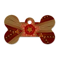 Red Star Ribbon Elegant Kaleidoscopic Design Dog Tag Bone (two Sides) by yoursparklingshop