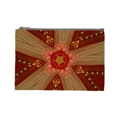Red Star Ribbon Elegant Kaleidoscopic Design Cosmetic Bag (large)  by yoursparklingshop