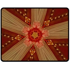 Red Star Ribbon Elegant Kaleidoscopic Design Fleece Blanket (medium)  by yoursparklingshop