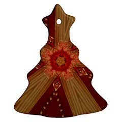 Red Star Ribbon Elegant Kaleidoscopic Design Christmas Tree Ornament (two Sides) by yoursparklingshop