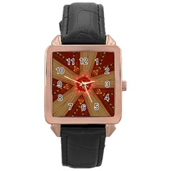 Red Star Ribbon Elegant Kaleidoscopic Design Rose Gold Leather Watch  by yoursparklingshop