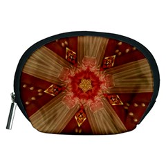 Red Star Ribbon Elegant Kaleidoscopic Design Accessory Pouches (medium)  by yoursparklingshop