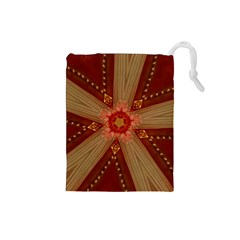 Red Star Ribbon Elegant Kaleidoscopic Design Drawstring Pouches (small)  by yoursparklingshop