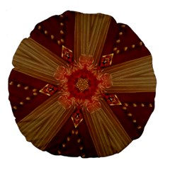 Red Star Ribbon Elegant Kaleidoscopic Design Large 18  Premium Flano Round Cushions by yoursparklingshop