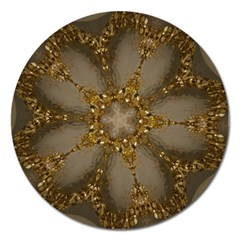 Golden Flower Star Floral Kaleidoscopic Design Magnet 5  (round) by yoursparklingshop