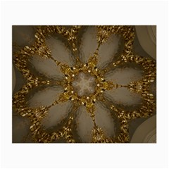 Golden Flower Star Floral Kaleidoscopic Design Small Glasses Cloth (2 Side) by yoursparklingshop