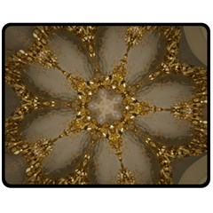 Golden Flower Star Floral Kaleidoscopic Design Fleece Blanket (medium)  by yoursparklingshop
