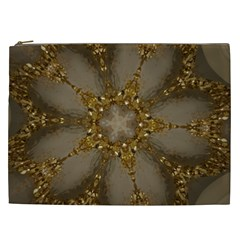 Golden Flower Star Floral Kaleidoscopic Design Cosmetic Bag (xxl)  by yoursparklingshop