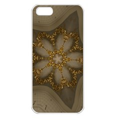 Golden Flower Star Floral Kaleidoscopic Design Apple Iphone 5 Seamless Case (white) by yoursparklingshop