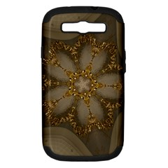 Golden Flower Star Floral Kaleidoscopic Design Samsung Galaxy S Iii Hardshell Case (pc+silicone) by yoursparklingshop