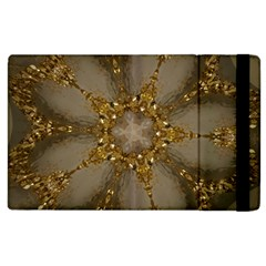 Golden Flower Star Floral Kaleidoscopic Design Apple Ipad 2 Flip Case by yoursparklingshop