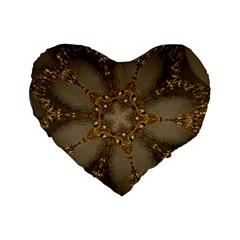 Golden Flower Star Floral Kaleidoscopic Design Standard 16  Premium Flano Heart Shape Cushions by yoursparklingshop