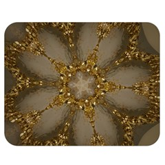 Golden Flower Star Floral Kaleidoscopic Design Double Sided Flano Blanket (medium)  by yoursparklingshop