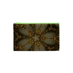 Golden Flower Star Floral Kaleidoscopic Design Cosmetic Bag (xs) by yoursparklingshop