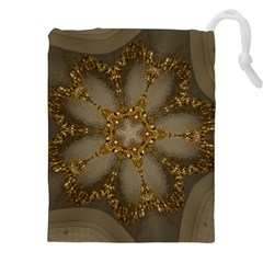 Golden Flower Star Floral Kaleidoscopic Design Drawstring Pouches (xxl) by yoursparklingshop