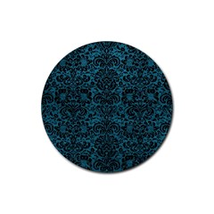 Damask2 Black Marble & Teal Leather Rubber Round Coaster (4 Pack)  by trendistuff