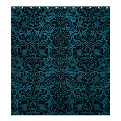 Damask2 Black Marble & Teal Leather Shower Curtain 66  X 72  (large)  by trendistuff