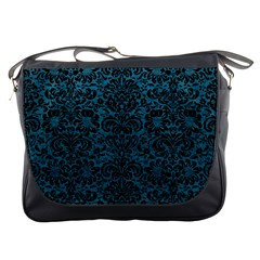 Damask2 Black Marble & Teal Leather Messenger Bags by trendistuff