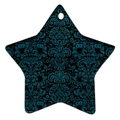 Damask2 Black Marble & Teal Leather (r) Star Ornament (two Sides) by trendistuff