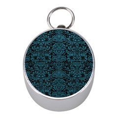 Damask2 Black Marble & Teal Leather (r) Mini Silver Compasses by trendistuff