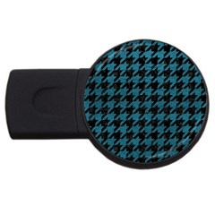Houndstooth1 Black Marble & Teal Leather Usb Flash Drive Round (4 Gb) by trendistuff