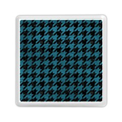 Houndstooth1 Black Marble & Teal Leather Memory Card Reader (square)  by trendistuff