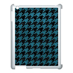 Houndstooth1 Black Marble & Teal Leather Apple Ipad 3/4 Case (white) by trendistuff