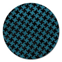 Houndstooth2 Black Marble & Teal Leather Magnet 5  (round) by trendistuff