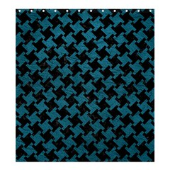 Houndstooth2 Black Marble & Teal Leather Shower Curtain 66  X 72  (large)  by trendistuff
