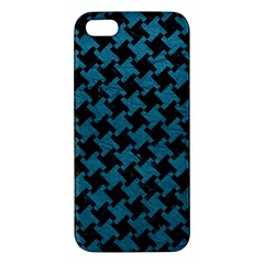 Houndstooth2 Black Marble & Teal Leather Apple Iphone 5 Premium Hardshell Case by trendistuff