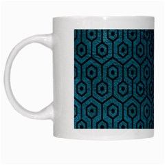 Hexagon1 Black Marble & Teal Leather White Mugs by trendistuff