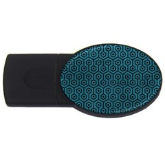 Hexagon1 Black Marble & Teal Leather Usb Flash Drive Oval (2 Gb)