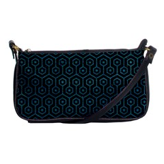 Hexagon1 Black Marble & Teal Leather (r) Shoulder Clutch Bags by trendistuff