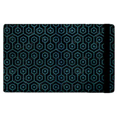 Hexagon1 Black Marble & Teal Leather (r) Apple Ipad 3/4 Flip Case by trendistuff