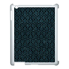 Hexagon1 Black Marble & Teal Leather (r) Apple Ipad 3/4 Case (white) by trendistuff