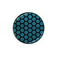 Hexagon2 Black Marble & Teal Leather Hat Clip Ball Marker (10 Pack) by trendistuff