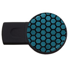 Hexagon2 Black Marble & Teal Leather Usb Flash Drive Round (4 Gb) by trendistuff
