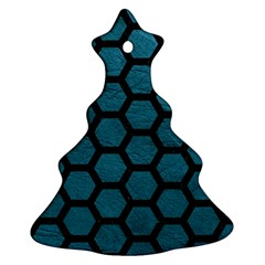 Hexagon2 Black Marble & Teal Leather Christmas Tree Ornament (two Sides) by trendistuff