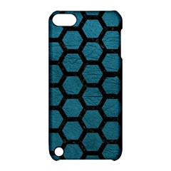 Hexagon2 Black Marble & Teal Leather Apple Ipod Touch 5 Hardshell Case With Stand by trendistuff