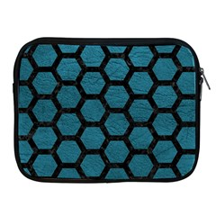 Hexagon2 Black Marble & Teal Leather Apple Ipad 2/3/4 Zipper Cases by trendistuff