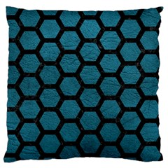 Hexagon2 Black Marble & Teal Leather Standard Flano Cushion Case (two Sides) by trendistuff