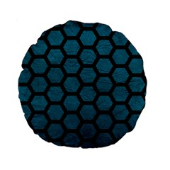 Hexagon2 Black Marble & Teal Leather Standard 15  Premium Flano Round Cushions by trendistuff