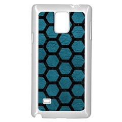 Hexagon2 Black Marble & Teal Leather Samsung Galaxy Note 4 Case (white) by trendistuff