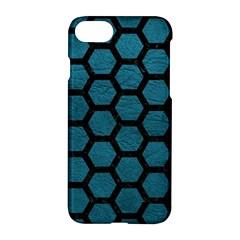 Hexagon2 Black Marble & Teal Leather Apple Iphone 8 Hardshell Case by trendistuff