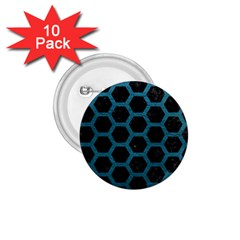 Hexagon2 Black Marble & Teal Leather (r) 1 75  Buttons (10 Pack) by trendistuff