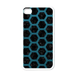 Hexagon2 Black Marble & Teal Leather (r) Apple Iphone 4 Case (white) by trendistuff
