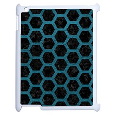 Hexagon2 Black Marble & Teal Leather (r) Apple Ipad 2 Case (white) by trendistuff